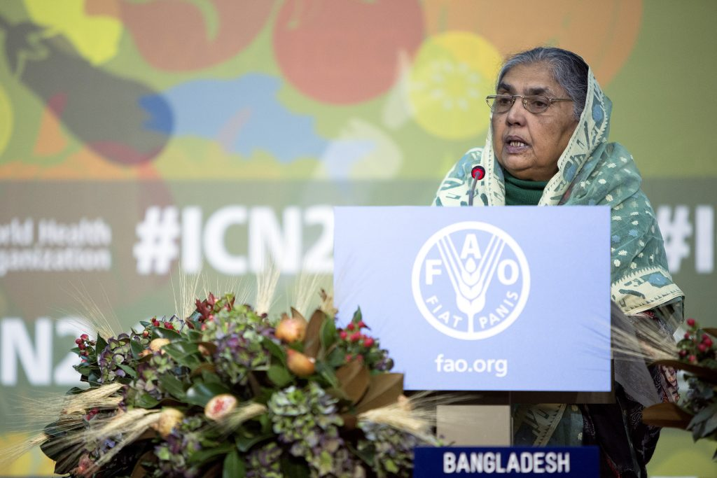 19 November 2014, Rome Italy - Statement by Begum Matia Chowdhury, Minister for Agriculture of the People's Republic of Bangladesh. General Debate, Second International Conference on Nutrition (ICN2), Afternoon session, FAO Headquarters (Plenary Hall).
